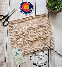 Load image into Gallery viewer, Moo Cotton Dishcloth - Brown Eco Friendly Cloth - Hand Knit Wash Cloth