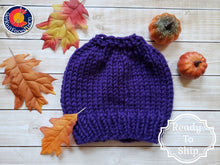 Load image into Gallery viewer, Purple Chunky Hand Knit Messy Bun Hat - Mom Ponytail Beanie - Women's Winter Toque