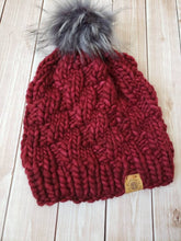 Load image into Gallery viewer, Adult Size - Women's Winter Hat - Maroon Chunky Detachable Pom Pom Hat - Hand Knit