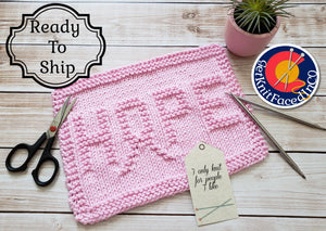 Pink Hope Dishcloth - Eco Friendly Cloth - Hand Knit Wash Cloth - Breast Cancer Awareness