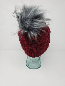 Adult Size - Women's Winter Hat - Maroon Chunky Detachable Pom Pom Hat - Hand Knit