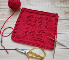 Load image into Gallery viewer, Red Eat Me Hand Knit Cotton Dishcloth - Environmentally Friendly - Adult Humor