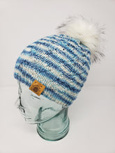 Load image into Gallery viewer, Blue White Detachable Pom Pom Hat - Adult Size - Women's Winter Hat - Hand Knit