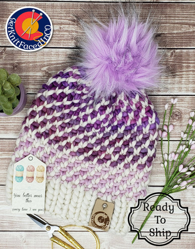 Pink Purple White Chunky Detachable Pom Pom Hat - Adult Size - Women's Winter Hat - Hand Knit