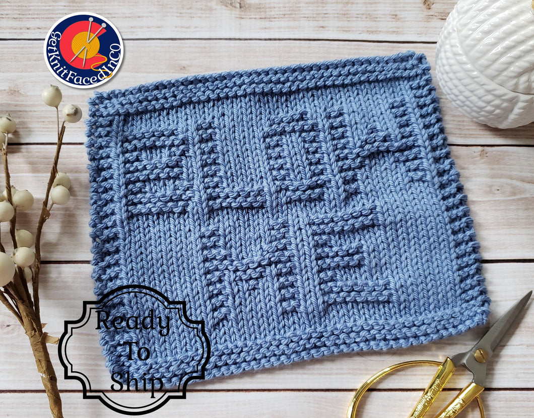 Blue Blow Me Hand Knit Cotton Dishcloth - Environmentally Friendly - Adult Humor