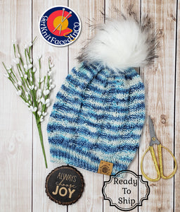 Blue White Detachable Pom Pom Hat - Adult Size - Women's Winter Hat - Hand Knit
