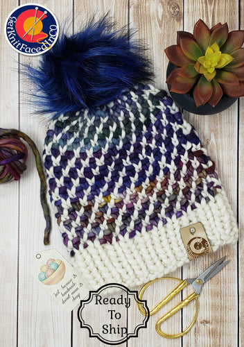 Rainbow White Chunky Detachable Pom Pom Hat - Adult Size - Women's Winter Hat - Hand Knit