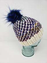 Load image into Gallery viewer, Rainbow White Chunky Detachable Pom Pom Hat - Adult Size - Women's Winter Hat - Hand Knit