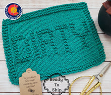 Load image into Gallery viewer, Green Dirty Hand Knit Cotton Dishcloth - Environmentally Friendly - Adult Humor