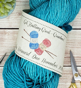 Get Knitting Great Grandma - Custom Printable Pregnancy Announcement Label - PDF File Only