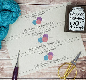 Custom Printable Pregnancy Announcement Label - Get Crocheting Grandma - PDF File Only