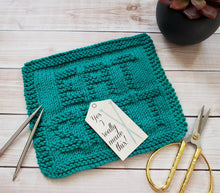 Load image into Gallery viewer, Green Eat Sh*t Hand Knit Cotton Dishcloth - Environmentally Friendly - Adult Humor - Eat Shit Washcloth