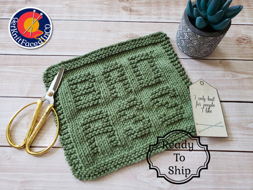 Green Bad Ass Dishcloth - Eco Friendly Cloth - Hand Knit Wash Cloth