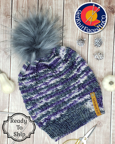 Purple Gray Detachable Pom Pom Hat - Adult Size - Women's Winter Hat - Hand Knit