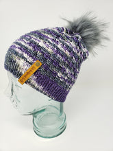Load image into Gallery viewer, Purple Gray Detachable Pom Pom Hat - Adult Size - Women's Winter Hat - Hand Knit