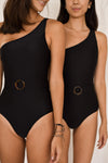 The Belted One-Shoulder Maillot / BLACK