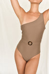 The Belted One-Shoulder Maillot / STONE