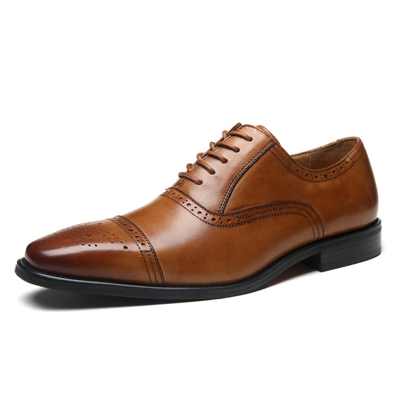 Men's Cap Toe Lace up Oxford Dress Shoes Posh-1-tancode:laceup20, dealA1666cognac-7