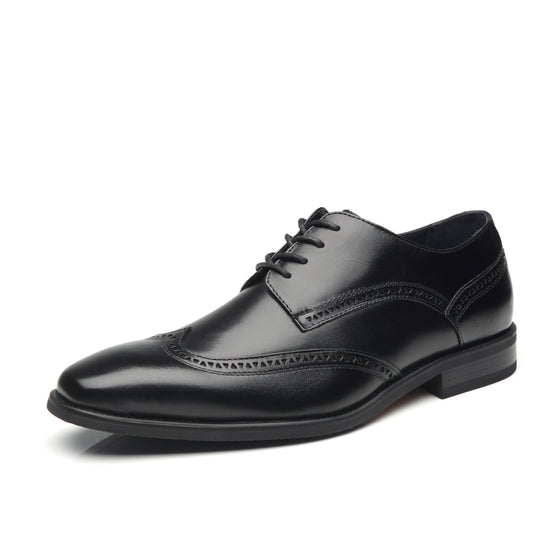 La Milano Men's Dress Shoes Leather Oxford Wingtip Lace Up Business Casual Comfortable Dress Shoes For Men
