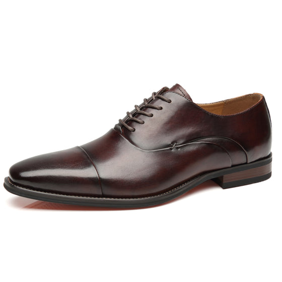 Men's Cap Toe Oxford Lace Up Shoes Micah-1-darkbrownA11714darkbrown-7.5