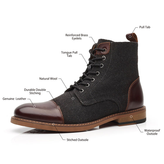 Mens Genuine Leather Boots Cosy-1-darkbrowndarkgreyNew ArrivalB51712darkbrown/darkgrey-7.5