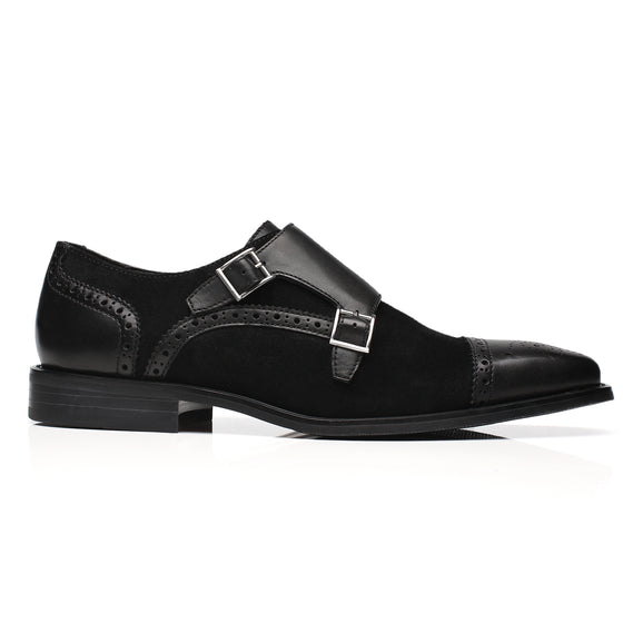 La Milano Mens Leather Double Monk Strap Loafer