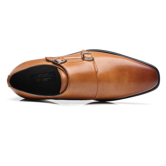 Mens Monk Strap Wing-2-cognac