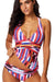 Plus Size Colorful Print Halter Tankini Set