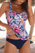 Floral Print Top Navy Bottom Tankini Set