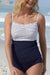 Navy Stripe Neckline Detail Tankini Set