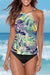 Palm Leaf Printed High Neck Two Piece Tankini Set