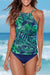 Tropic Leaf High Neck Two Piece Tankini Set