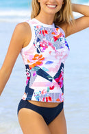 Bloom Print Tank And Navy Bottom Tankini Set