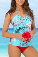 Stylish Scoop Neckline And Red Bottom Tankini Set