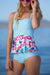Scalloped Peplum Floral Tankini Set