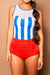 Netted Sweatheart Blue Stripe Tankini Set
