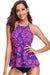High Neck Halter Ruffle Tankini Set