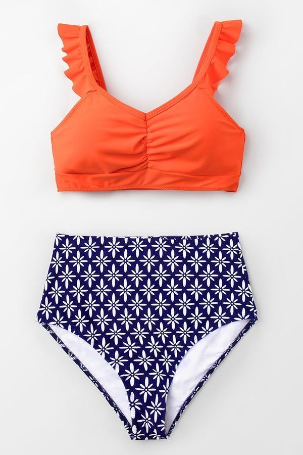 Tangerine Ruffled and High-Waisted Bikini