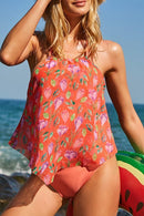Flower Print Halter Neck Tankini Set
