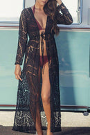 Beachsissi Front Tie Lace Maxi Cover Up