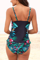 Leaf & Flower Print Ruched Tankini Set