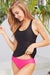 Racer Back Solid Cute Tankini Set