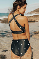 BLACK DOTTIE HIGH-WAISTED BIKINI SET