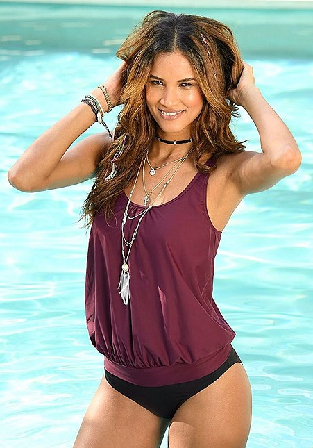 WINE OVERSIZED TANKINI SET