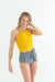 Mustard Crop Top Plaid Bottom Tankini Set