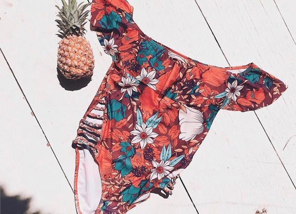 Flower Ruffled Off-the-shoulder Slim One-piece Swimsuit