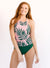 Palm Leaf Double-Cinch Tankini Set