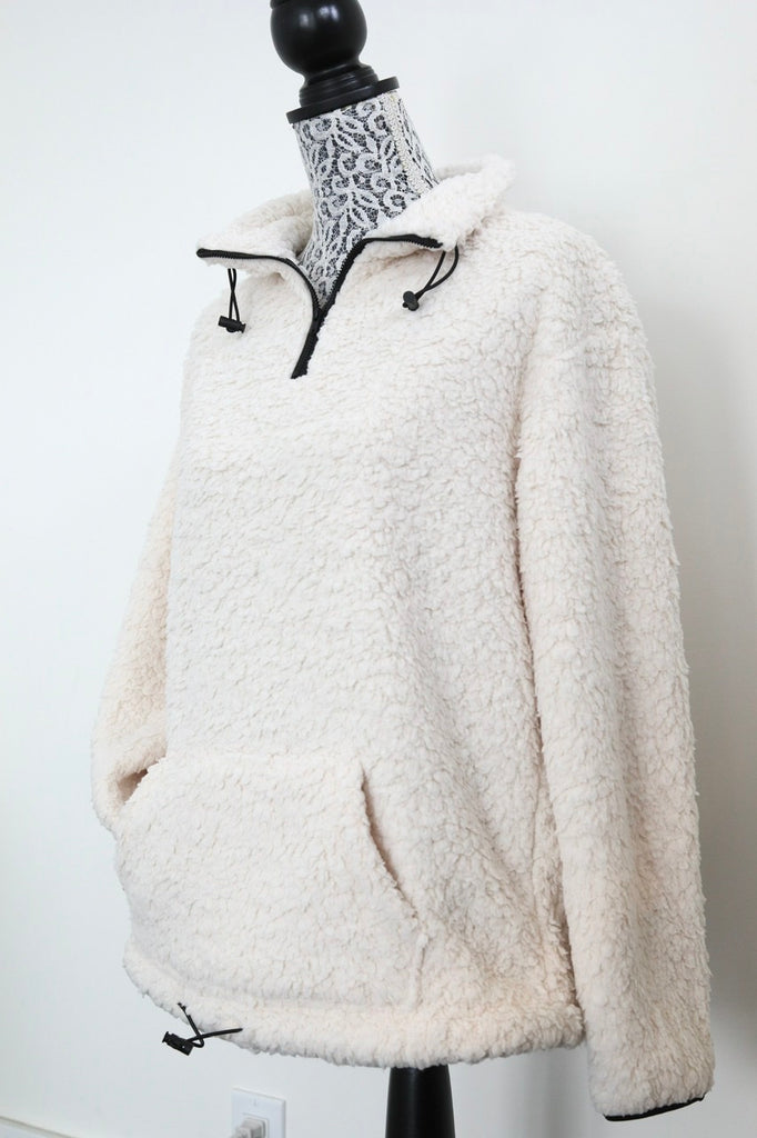 STAY HOME half-zip sherpa fleece - Winter White