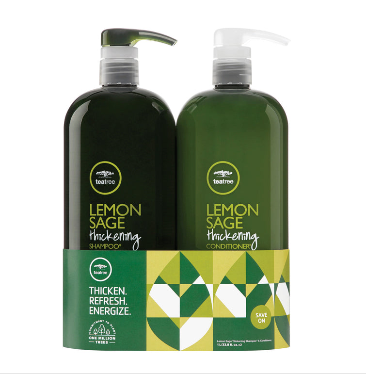 Paul Mitchell Teatree Lemon Sage Thickening Litre Duo