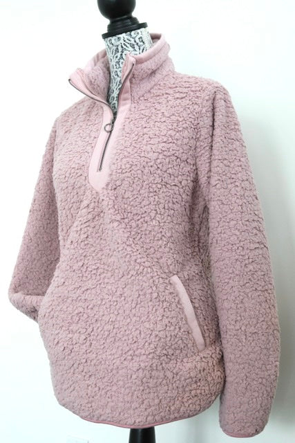 STAY HOME Half-zip fleece - Dusty Pink